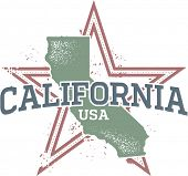 Vintage California State Star Stamp