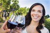 foto of merlot  - Pretty Mixed Race Young Adult Woman Enjoying A Glass of Wine in the Vineyard with Friends - JPG