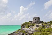 Ancient Mayan ruins of Tulum in Caribbean sea, Mexico