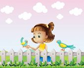 foto of bird fence  - Illustration of a young girl playing with the birds near the fence - JPG