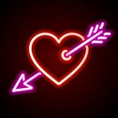Heart with arrow neon sign. Vector.