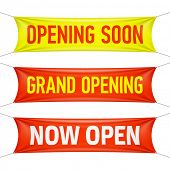 Opening Soon, Grand Opening and Now Open banners. Vector.