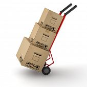 Three moving boxes on hand truck dolly for moving company