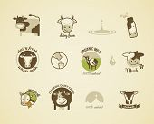 Milk and cow Labels, elements and icons