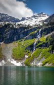 picture of mountain-range  - Rainy Lake and waterfall in the North Cascades - JPG