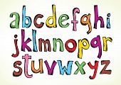 Colorful hand drawn illustration with the full set of the letters of the alphabet in lower case isol