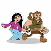 cartoon illustration of barbarian pulling a woman by the hair
