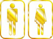 Man and Woman restroom golden signs. Vector