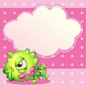 Illustration of an empty cloud template at the back of a green monster