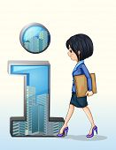 Illustration of a lady walking towards the number one symbol on a white background