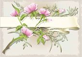 Vintage Flower Ornament With Banner