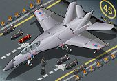 Isometric Fighter Bomber Landed In Front View