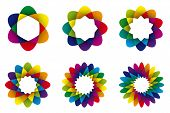 Geometric Rainbow Colored Abstract Flower Symbols. Collection of six rainbow colored geometric flowe