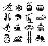 stock photo of chalet  - Collection of winter icons representing skiing and other winter outdoor activities - JPG