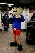 NEW YORK-JAN 12: A participant in the 13th annual international 'No Pants Subway Ride' waits for the