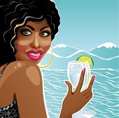 Smiling Girl Mulatto Holding Glass Of Clean Water.illustration