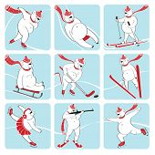 Set Of White Bear Plays Winter Sport. Humorous Illustration.