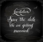 Calligraphic Lettering. Invitation, save the date. Wedding invitation card. We are getting married. Vintage background.