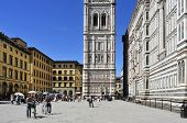 FLORENCE, ITALY - APRIL 14: Giottos Campanile and Basilica di Santa Maria del Fiore on April 14, 2013 in Florence, Italy. The tower, 84.7 m height, is one of the showpieces of the Florentine Gothic