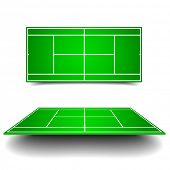 detailed illustration of a tennis court with perspective, eps10 vector
