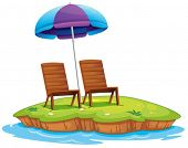 Illustration of the two wooden chairs in the island on a white background