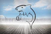 Loan shark doodle against cityscape on the horizon