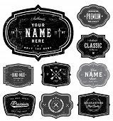 stock photo of laurel  - Vector retro badge set - JPG
