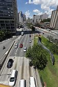 S�?�?�?�£o Paulo Circa January 2014: Traffic on Avenida, Sao Paulo city Brazil