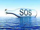 stock photo of sos  - sos message inside a bottle on the sea - JPG