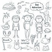 Beach  set  in doodle style