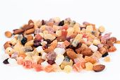 Dried fruits and nuts on white background