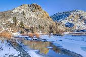 stock photo of collins  - winter sunset over Cache la Poudre River  - JPG