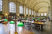 BOSTON, MA - APRIL 7, 2012: Interior of Boston Public Library. The library was the first publicly supported municipal library in the United States.