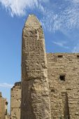 image of obelisk  - Obelisk at the Temple of Karnak in Egypt - JPG