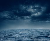 Dark stormy clouds over the ocean