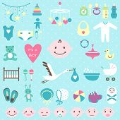 Set of baby shower flat elements for boy