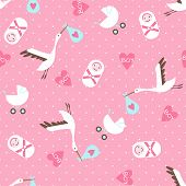 Seamless baby shower pattern on pink background.