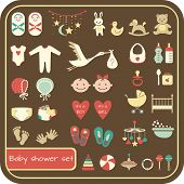 Set of baby shower flat elements.