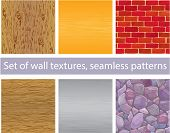 Set Of Different Wall Textures - Wood, Silver And  Gold Metal, Brick, Stones - Seamless Patterns