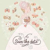 Gentle romantic wedding invitation card with beautiful bride and butterflies. Vector save the date b