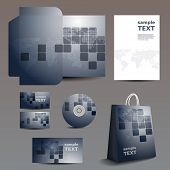 Stationery, Corporate Image Design with Squares and Earth Map