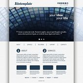 Website Template Design with Blue Abstract Header