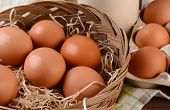 Closeup of a basket full of brown eggs in a rustic farmhouse like setting. Horizontal format with sh