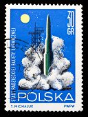 Poland Stamp, Start Of Ussr Spaceship