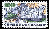 Czechoslovakia Stamp, Dry Cargo Ship