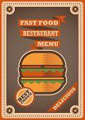 Retro poster for fast food restaurant. Vector illustration.