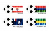 Football With French Polynesia, Gambia, French Southern Lands, Gabon Flag