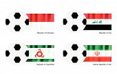 Soccer Ball With Indonesia, Iraq, Ingushetia And Iran Flag