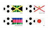 Football With Jamaica, Bailiwick Of Jersey, Kuban And Japan Flag