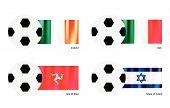 Football With Ireland, Italy, Isle Of Man And  Israel Flag